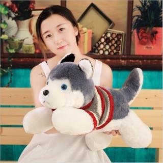 Thú Bông Chó Con Husky Màu Xám Mặc Áo Len (4 Size) thumbnail