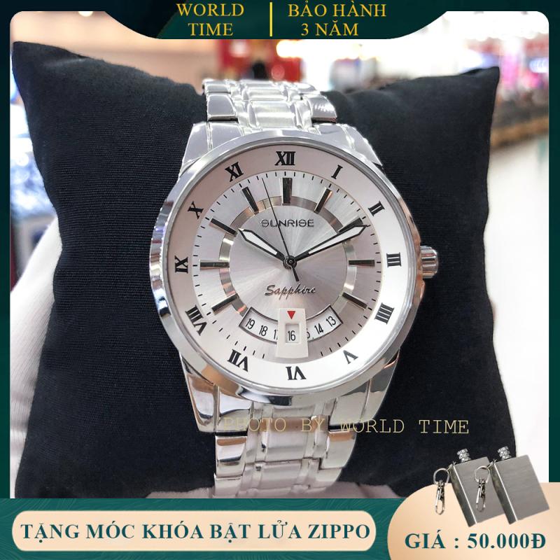 Đồng hồ nam cao cấp dây kim loại Sunrise DM771SWA-2 full box, kính saphire chống xước, chống nước, thẻ bảo hành toàn quốc 3 năm
