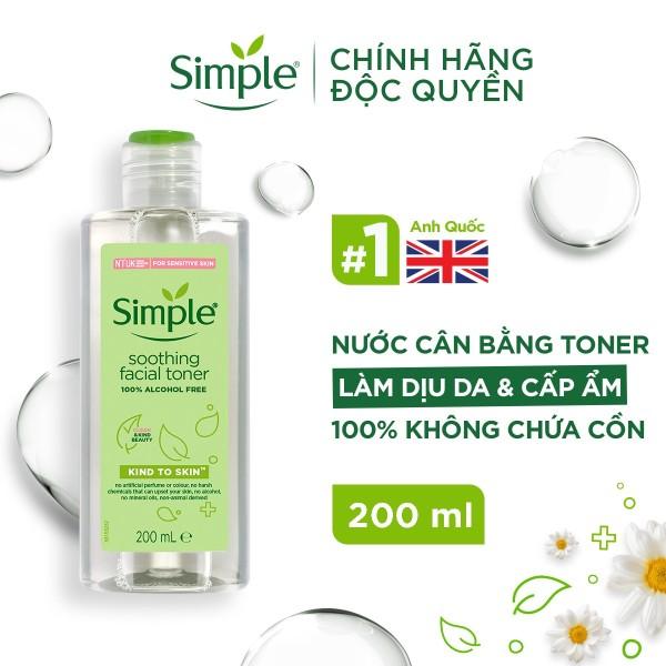 Nước hoa hồng Simple Toner làm dịu và cân bằng độ ẩm cho da - lành tính không chứa cồn 200ml [CHÍNH HÃNG ĐỘC QUYỀN]