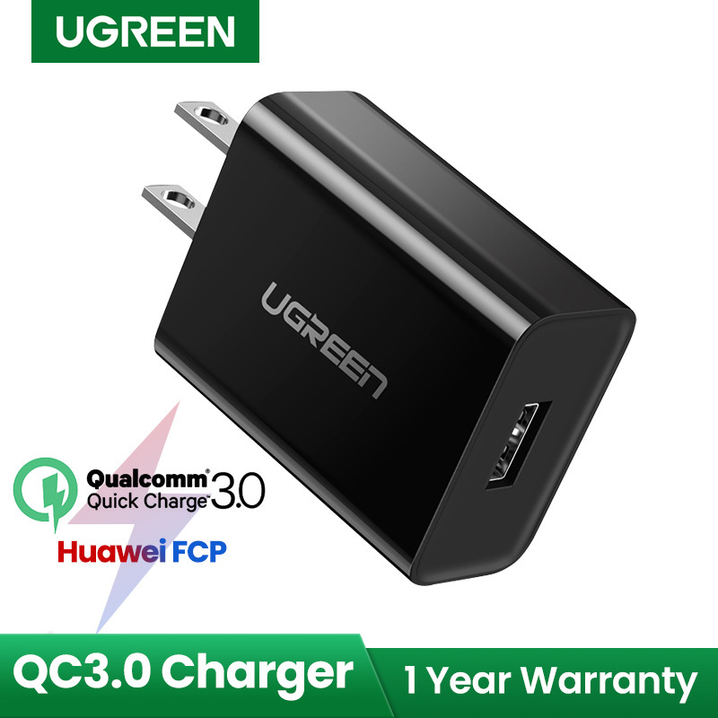 【18W Fast Charger 】UGREEN Quick Charge QC3.0 USB Charger for SAMSUNG iPhone Realme 6 Pro huawei nova 7i SAMSUNG j7, A71, A10, Huawei Nova 5T, Xiaomi Redmi Note 9, VIVO, OPPO