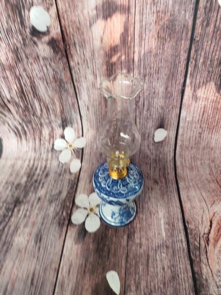 Đèn dầu gốm sứ đủ bộ loại vừa D8 cm, bóng dài