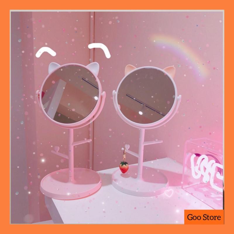 Gương để bàn tai mèo - Gương trang điểm tai mèo - Gương tai mèo cute nhập khẩu