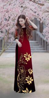Áo dài truyền thống nữ in lan vàng cao cấp - KHÔNG KÈM QUẦN thumbnail