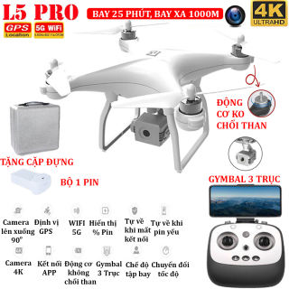 (BỘ 2 PIN - TẶNG TÚI ĐỰNG) - Flycam L5PRO Camera 4K Gymbal 3 trục Định vị GPS Wifi 5G thời gian bay 25 phút bay xa 1km truyền hình ảnh trực tiếp về điện thoại - BẢO HÀNH 3 THÁNG