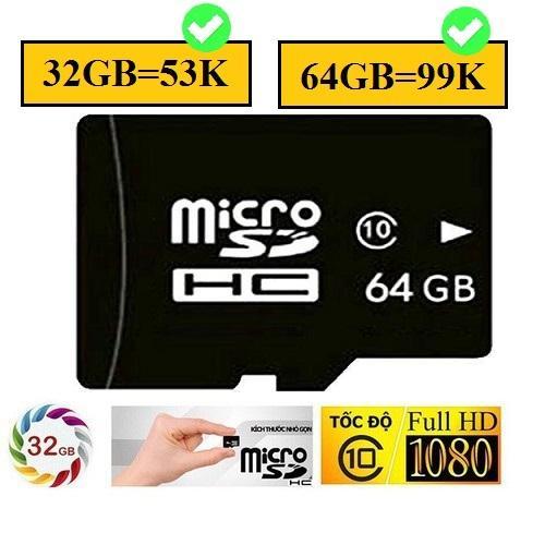 Giá Thẻ nhớ 32G 64GB class 10 Micro SD HC lưu trữ cực khủng