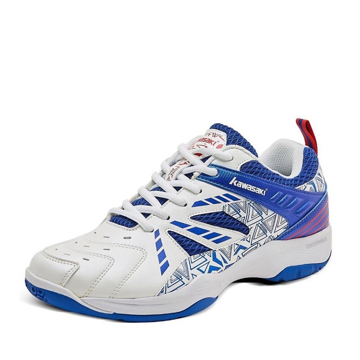 Giày cầu lông nam nữ Kawasaki K080 màu trắng xanh cao cấp, Giày đánh cầu lông, giày bóng chuyền Kawasaki K080, giày đánh bóng bàn Kawasaki K080 màu trắng xanhcao cấp