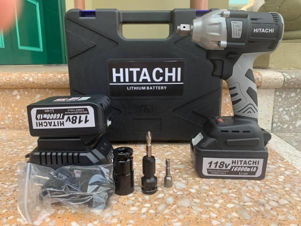 Máy Siết Bulong Pin HITACHI 118V [ FULL BOX + BH 12 Tháng ] - Tặng 1 chuyển vít 2 Pin - không chổi than