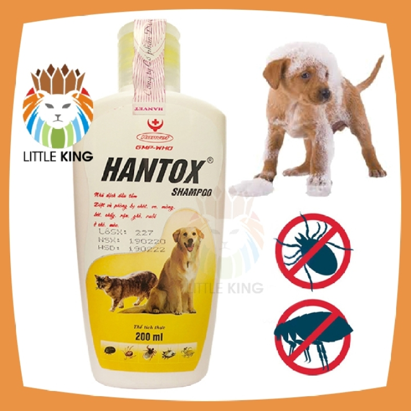 Sữa tắm Hantox 200ml Vàng trị ve, rận, bọ chét, ký sinh trùng, ghẻ cho chó mèo - Little King pet shop