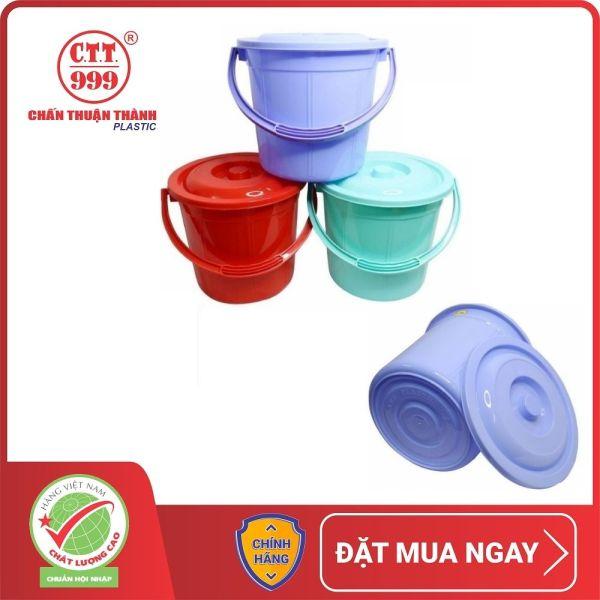Combo 4 xô nhựa có nắp Chấn Thuận Thành 10L nhiều màu đựng nước - hàng Việt Nam Chất Lượng Cao XO10L20-CN-4