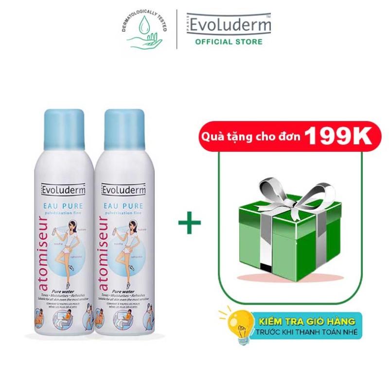 [Đơn 199k - Tặng quà] Bộ 2 sản phẩm xịt khoáng dưỡng da cấp ẩm Evoluderm Atomiseur Eau Pure 150ml