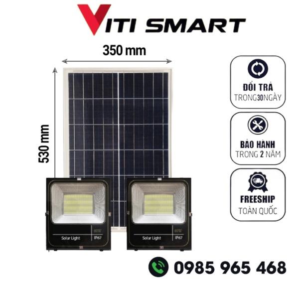 Bảng giá Đèn pha đôi năng lượng mặt trời 1 tấm pin dùng cho 2 đèn pha công suất 60W, Den nang luong mat troi san vuon