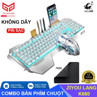 ZIYOU LANG K680 Combo bàn phím và chuột không dây sạc pin dành cho các game thủ có Led cao cấp - Hãng phân phối chính thức thumbnail
