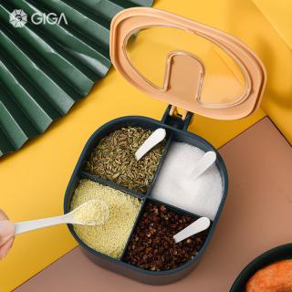 GIGA ESSENTIAL Hộp đựng gia vị đa lưới cho nhà bếp với bộ Thìa hộp gia vị bằng nhựa Nồi gia vị MSG đường hộp gia vị Lắc muối nồi nhiều gia vị BPA free thumbnail
