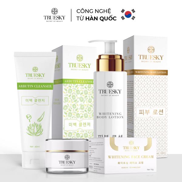 Bộ Truesky VIP04 gồm  1 sữa rửa mặt trắng da 60ml & 1 kem dưỡng trắng da mặt 10g & 1 kem dưỡng trắng da toàn thân 100ml cao cấp