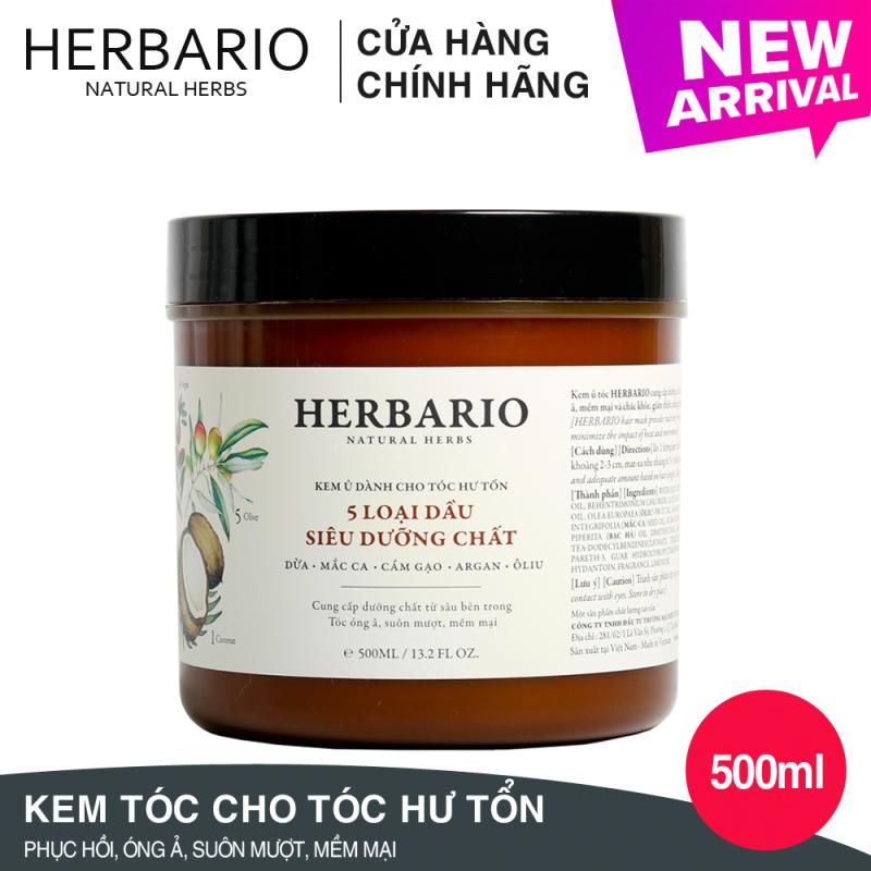 Kem ủ tóc Herbario - 5 Loại dầu siêu dưỡng chất 500ml nhập khẩu
