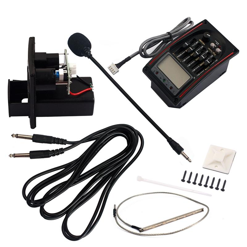 5-Band EQ Equalizer Preamp Pickup LCD Tuner with Microphone Set LC-51 for Acoustic/Classical Guitar Replacement Parts