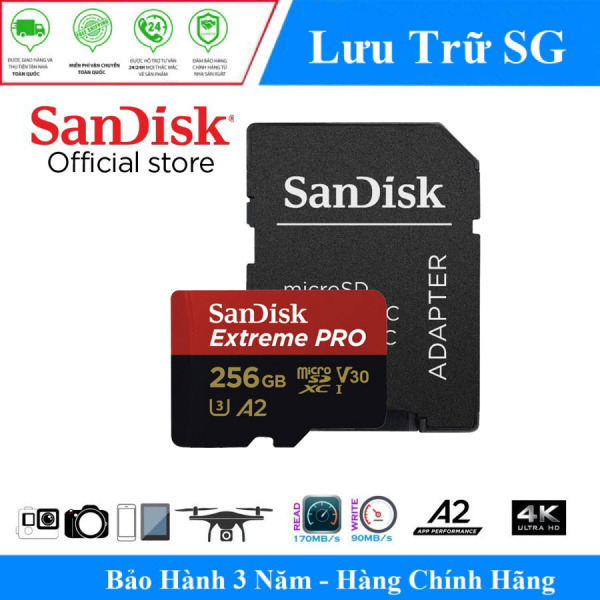 [Best Seller] Thẻ nhớ MicroSDXC SanDisk Extreme PRO A2 - 256GB V30 U3 Class 10 UHS-I 170MB/s (SDSQXCZ-256G-GN6MA) - Hãng Phân Phối Chính Thức
