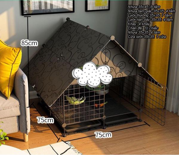 {SỈ SLL} COMBO chuồng lắp ghép lớn có mái dành cho thú cưng - có chân , tặng kèm khay vệ sinh