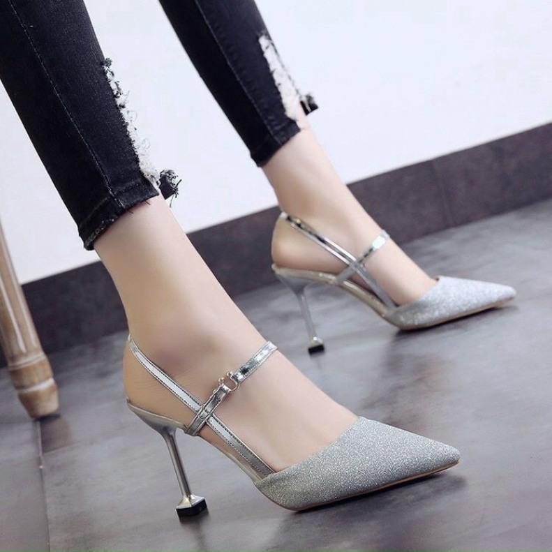 [SenXanh] Sandal bít mũi nhũ mịn pha da bóng gót nhọn - 7P giá rẻ