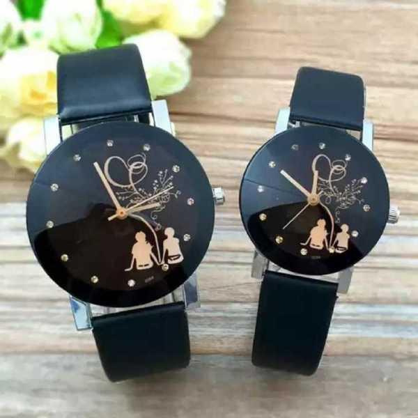 Đồng hồ cặp TL15 đồng hồ tình nhân dạng Quartz dây da dành cho nam nữ- cặp 2 cái