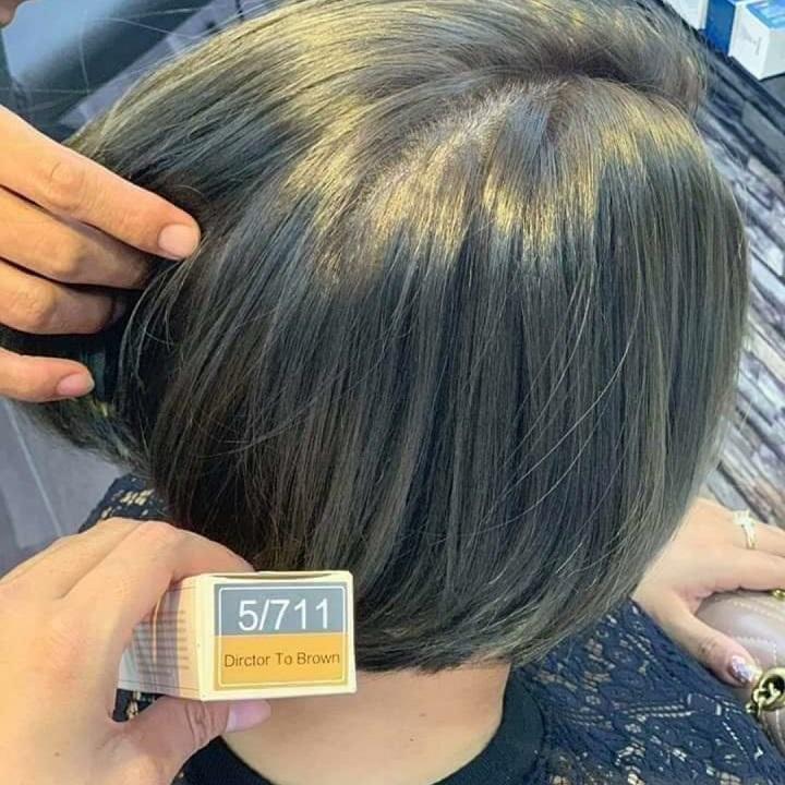 Màu nhuộm tóc nâu khói caitu 5.711 + trợ dưỡng + găng tay