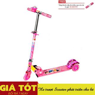 Xe trượt phát sáng tặng kèm thước dây- Xe trượt Scooter cho bé từ 3 - 8 tuổi tải trọng 100kg, Xe trượt trẻ em giá rẻ 3 bánh có chuông và đèn Led, Xe trượt phát triển cho bé + Tặng thước dây đo chiều cao thumbnail