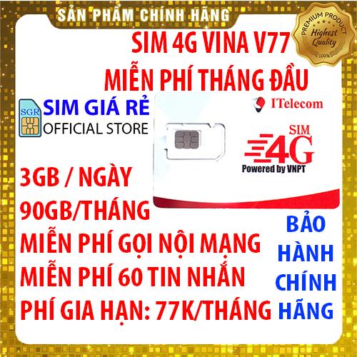 Sim 4G Vina gói 3GB/ngày (90GB/tháng) hãng Itelecom + Miễn phí gọi nội mạng Vinaphone - Giống như sim 4G Vinaphone VD89P (VD89 Plus) - Shop Sim Giá Rẻ