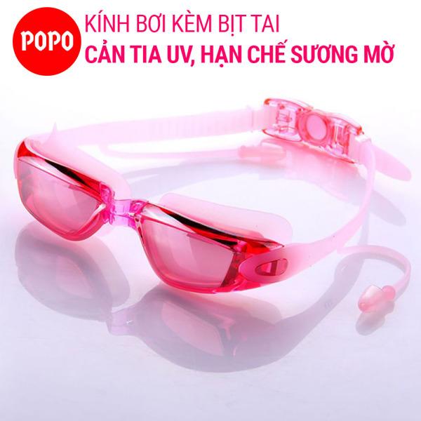 Kính bơi thời trang chống tia UV 1940 gắn bịt tai kiểu dáng thời trang nhỏ gon chống sương mờ POPO Collection
