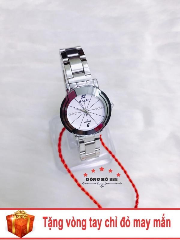 Đồng hồ nữ HALEI dây kim loại thời thượng ( HL457 dây trắng mặt trắng ) - TẶNG 1 vòng tay chỉ đỏ may mắn