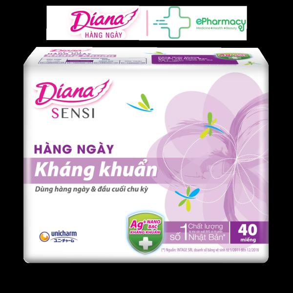 BVS Diana Sensi - Băng Vệ Sinh Diana Sensi Hàng Ngày Kháng Khuẩn 40 Miếng/Gói
