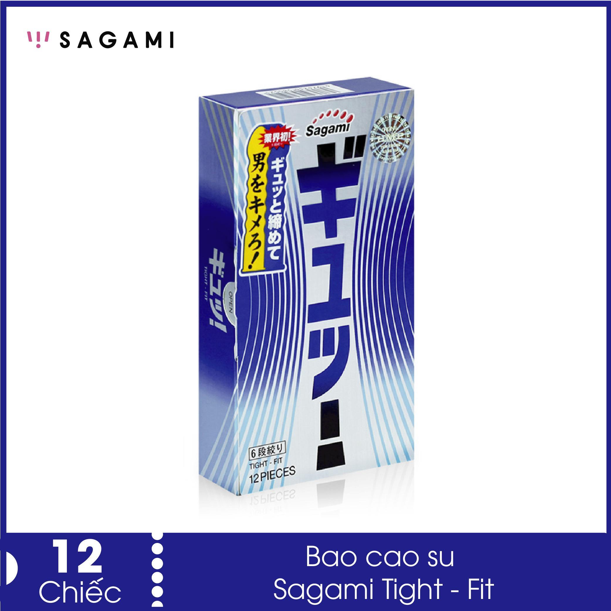 Bao cao su Sagami Tight - Fit (Hộp 12) lượn sóng 6 lần, màu tím khác biệt