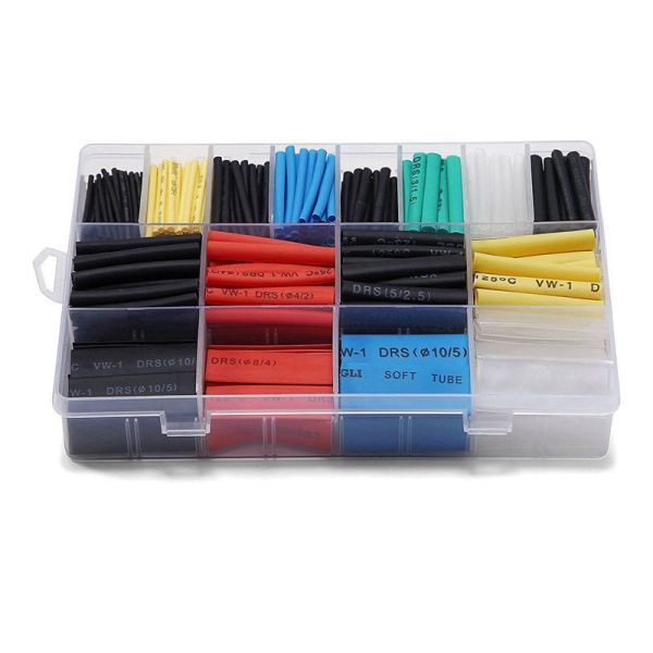 580 pcs 2:1 Heat Shrink Tube 6 Colors 11 Sizes Tubing Set Combo Assorted Sleeving Wrap Cable Wire Kit for DIY