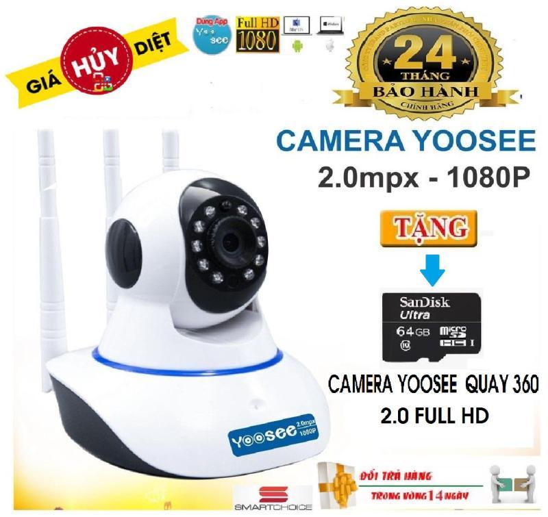(Tặng thẻ nhớ 64GB,1đổi 1 trong vòng 7 ngày, bảo hành 12 tháng) Camera IP Wifi Yoosee 3 Râu Full HD 1080p Không Dây Phiên Bản Mới Nhất 2019