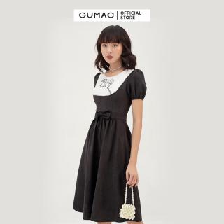 Váy đầm nữ đẹp thiết kế cổ cách điệu phối yếm họa tiết thêu thời trang GUMAC mẫu mới DB395 nhún eo tôn dáng chất liệu Nhung cao cấp thoải mái sang trọng thumbnail