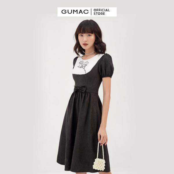 Nơi bán Váy đầm nữ đẹp thiết kế cổ cách điệu phối yếm họa tiết thêu thời trang GUMAC mẫu mới DB395 nhún eo tôn dáng chất liệu Nhung cao cấp thoải mái sang trọng