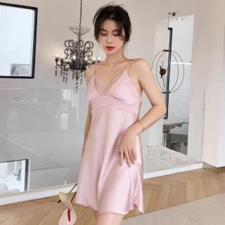 HISEXY Đầm Ngủ, Váy Ngủ 2 Dây, Đồ Ngủ Mặc Nhà Lụa Satin Cao Cấp Mặc Nhà Có Mút Ngực Đủ Size Dưới 65Kg Ren 18cm MD04 thumbnail
