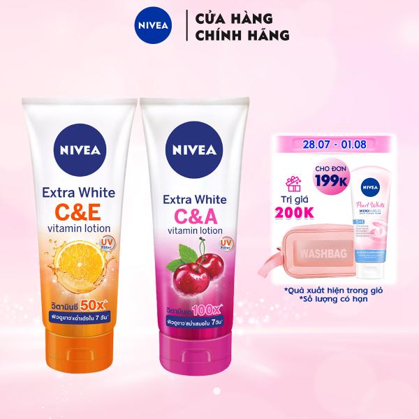 Bộ đôi Sữa Dưỡng Thể Dưỡng Trắng NIVEA EXTRA WHITE C & E VITAMIN -180ml - 84374 & Extra White C & A Vitamin - 180ml - 80372