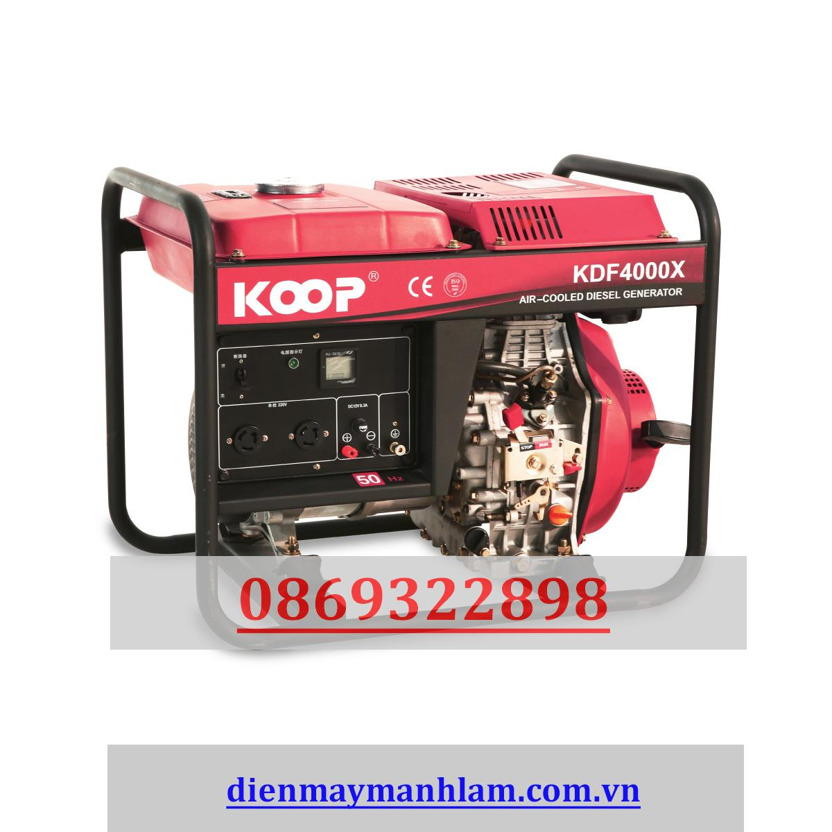Máy phát điện giật tay nhật bản Koop 2.8kw KDF 4000X