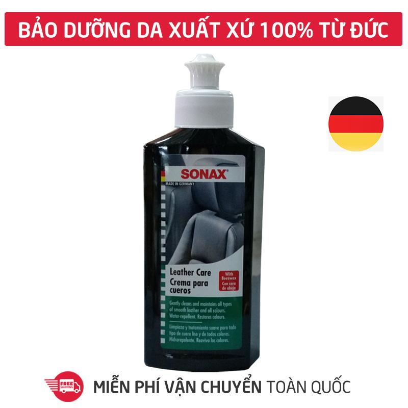 Dung dịch xịt bảo dưỡng da ghế xe hơi Sonax leather care lotion 250ml, sáp xi làm sạch, kem dưỡng hạn chế nứt gãy cho bề mặt vật dụng da, táp lô xe hơi, ô tô, ghế văn phòng-SN-291141