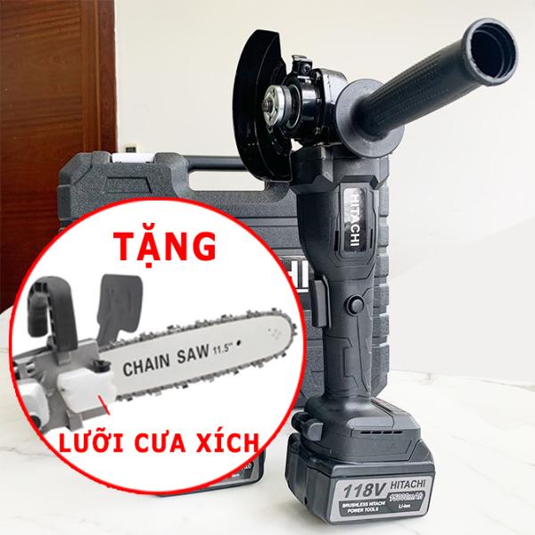 [ TẶNG LƯỠI CƯA XÍCH] Máy mài pin Hitachi 118V - Máy mài góc - CÓ 2 PHÂN LOẠI -  Máy cắt cầm tay - Máy mài cầm tay - 2 pin 10 cell - Động cơ không than , Lõi đồng nguyên chất - Máy cắt đá , Máy mài bóng , Máy cắt sắt
