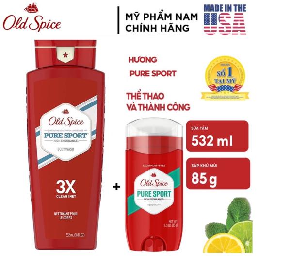 [USA] Combo Old spice Pure Sport Sữa tắm nam 3X 532ml + Lăn sáp khử mùi 85g- Mỹ