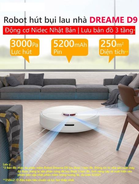 Robot hút bụi lau nhà Vacuum Dreame D9 kết nối App Mihome