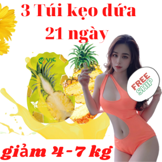 3 túi kẹo dứa giảm cân VIC giảm cân nhanh từ 4-7 kg 21 viên 21 ngày thumbnail