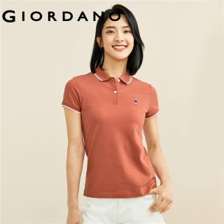 GIORDANO Women Polo Shirts Small Exquisite Embroidery Pique Polo Shirts Contrast Collar Short Sleeves Comfy Polo Shirts 05311260 thumbnail