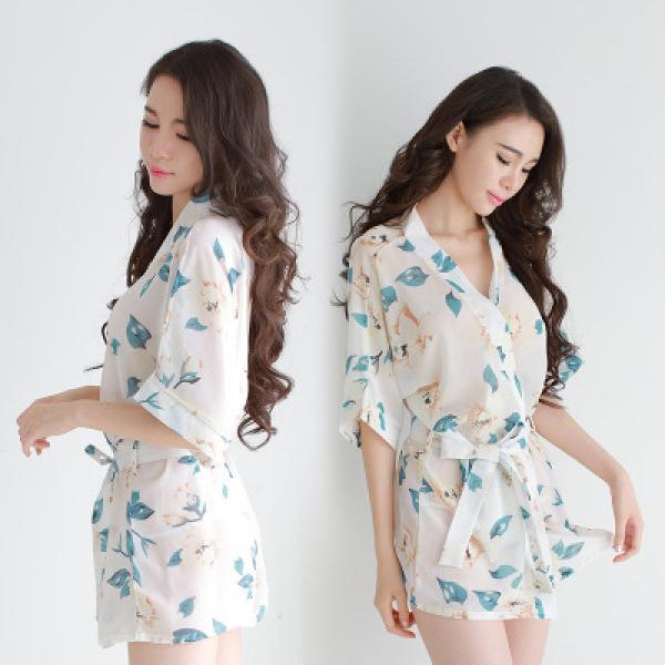 Nơi bán [ảnh thật] Áo choàng ngủ voan hoa xuyên thấu, áo choàng đi biển - ACH005 - lá xanh