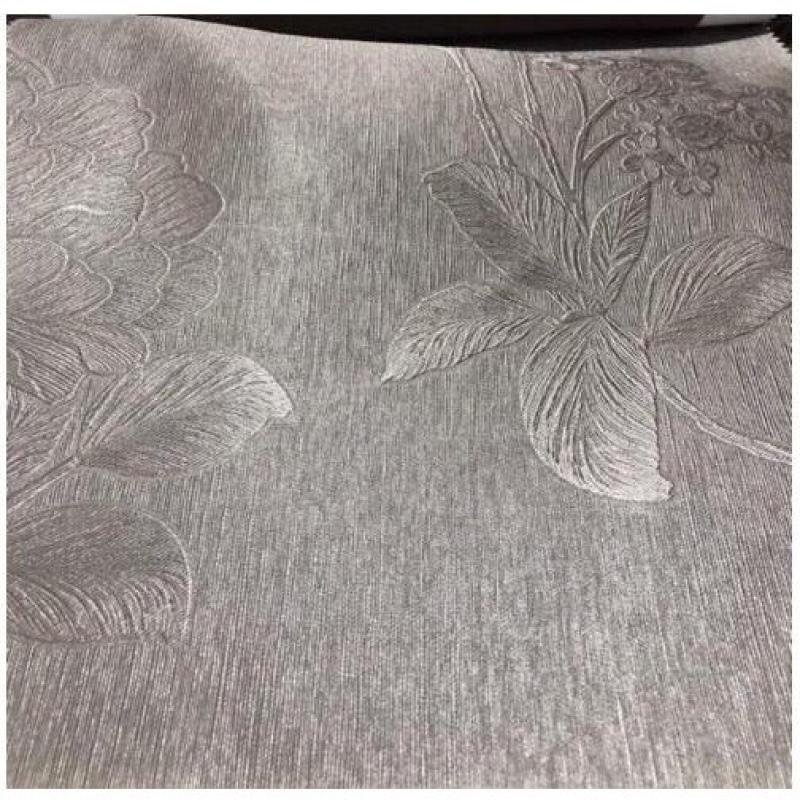 Rèm vải trang trí (có sẵn khoen) - hoa văn dày màu xám sáng