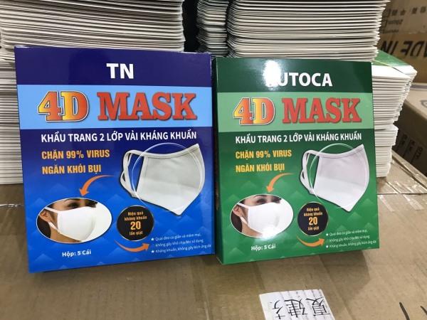 Khẩu trang vải kháng khuẩn 4D Mask size người lớn ( Hôp 5 cái)