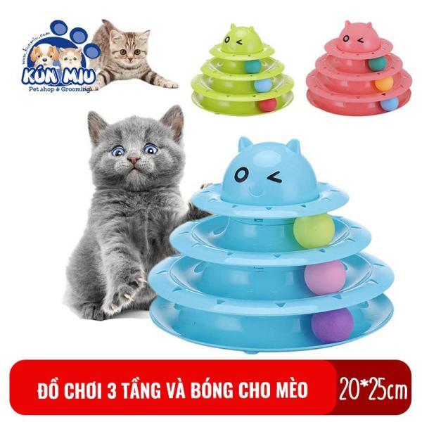 Bộ đồ chơi cho mèo 3 tầng và bóng Kún Miu kích cỡ 20*25cm