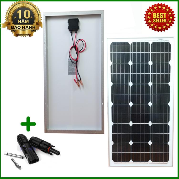 Tấm Pin năng lượng mặt trời đơn tinh thể Mono 50W tặng kèm jack MC4
