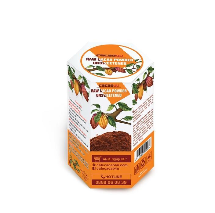 Bột ca cao nguyên chất hỗ trợ giảm cân - Hộp giấy 220g - Cacao4U